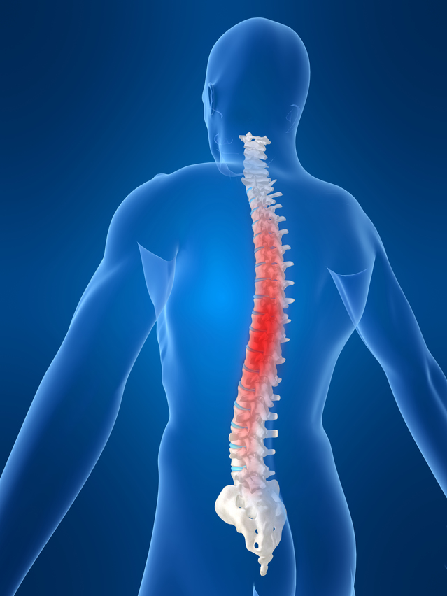 a person's spine in pain