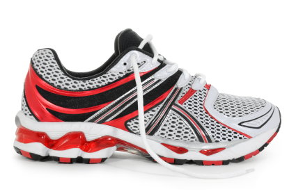 red and white running shoe